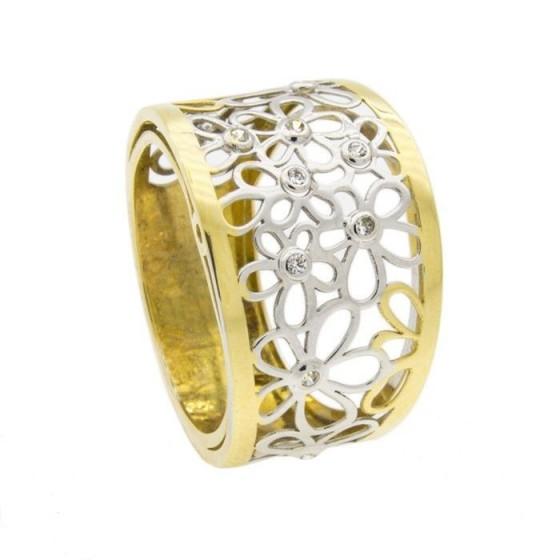 Sortija oro amarillo y filigrana en oro blanco con circonitas - 1