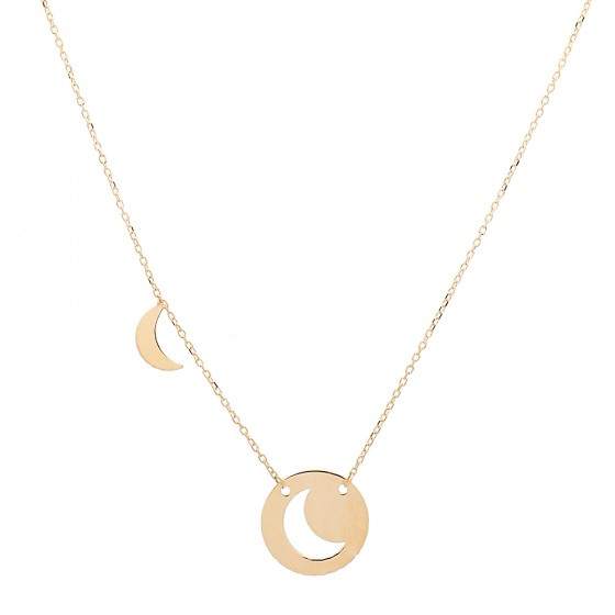 Cadena de oro con colgante luna - 1