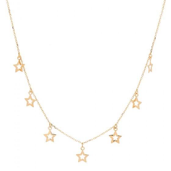 Cadena de oro con colgantes de estrellas - 1