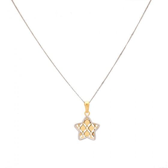 Cadena de oro con colgante de estrella bicolor - 1