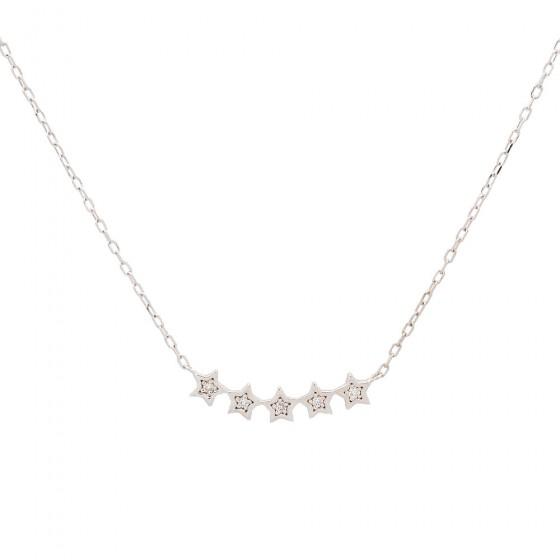 Colgante de estrellas en oro blanco  con cadena - 1