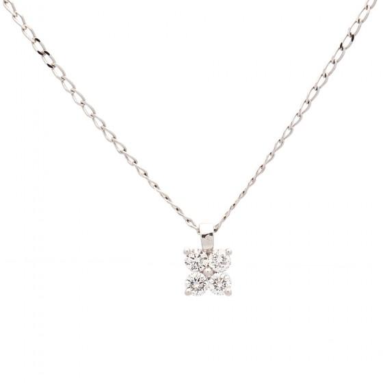 Colgante de oro blanco con cuatro diamantes - 1
