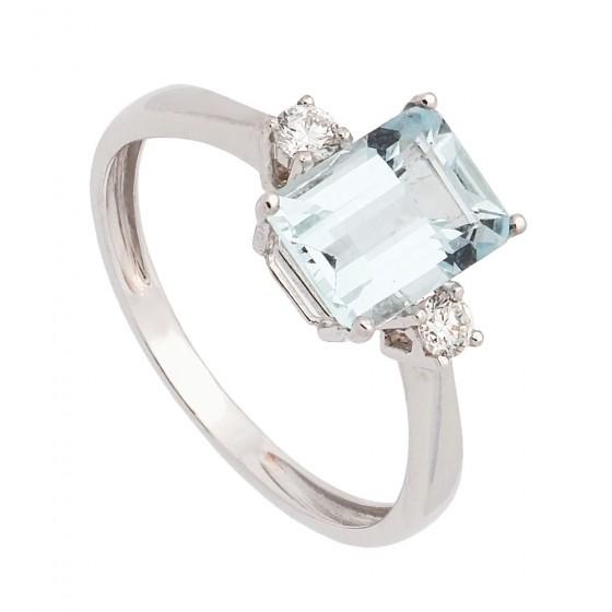 Sortija de oro blanco con aguamarina y diamantes - 1