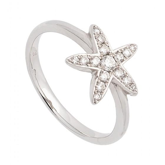 Sortija estrella de oro blanco con diamantes - 1