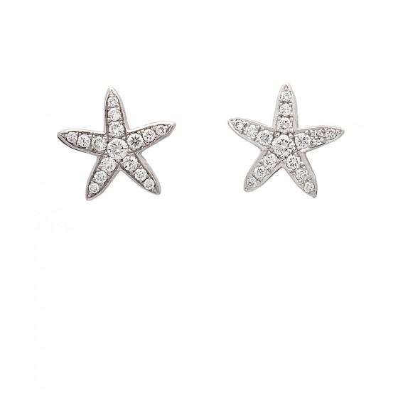 Pendientes de oro blanco con estrella de mar y diamantes - 1