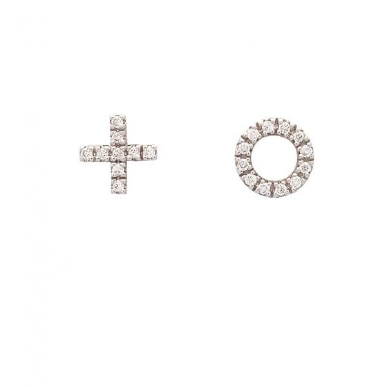 Pendientes de oro blanco + y o con diamantes - 1