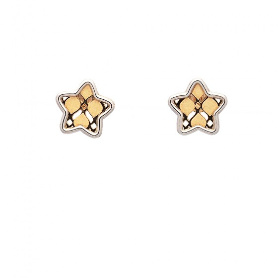 Pendientes estrella de oro bicolor - 1