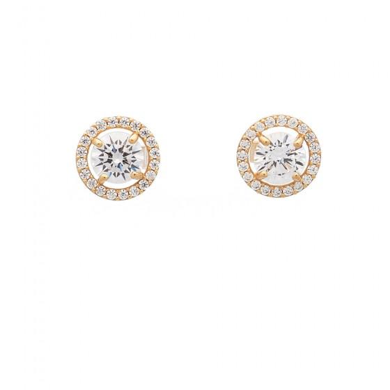 Pendientes circulares de oro amarillo y circonitas - 1