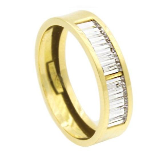 Media alianza de oro amarillo con circonitas talla baguet - 1