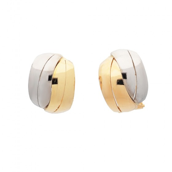 Pendientes lisos de oro bicolor - 1