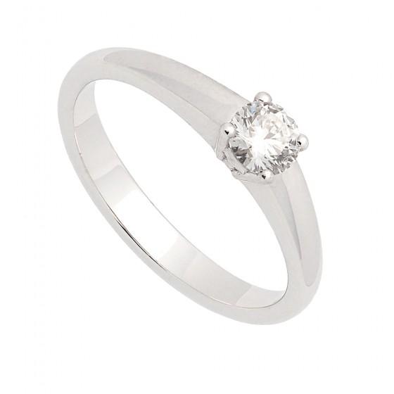 Solitario en oro blanco con diamante central - 1