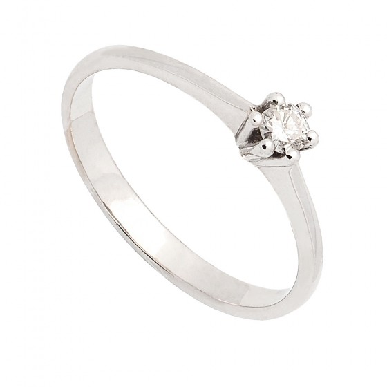 Solitario en oro blanco con diamante - 1