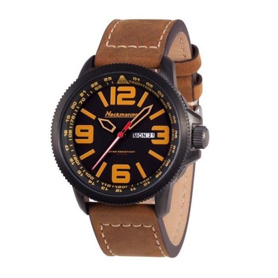 Reloj de caballero X-Plorer con correa de cuero y números ocre - 1
