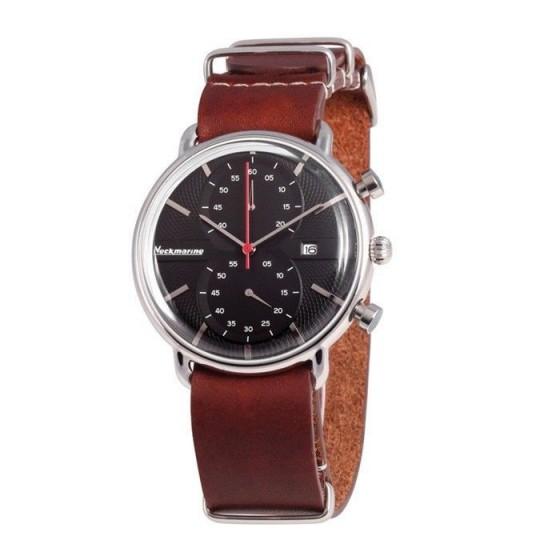 Reloj clásico con cronógrafo y esfera negra - 1