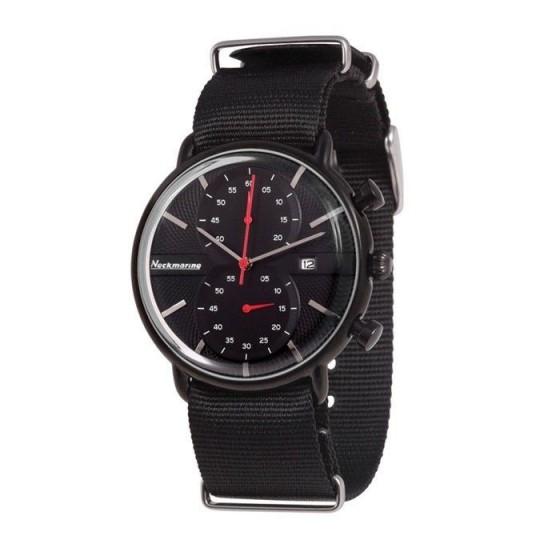 Reloj clásico con cronógrafo esfera y correa negra - 1