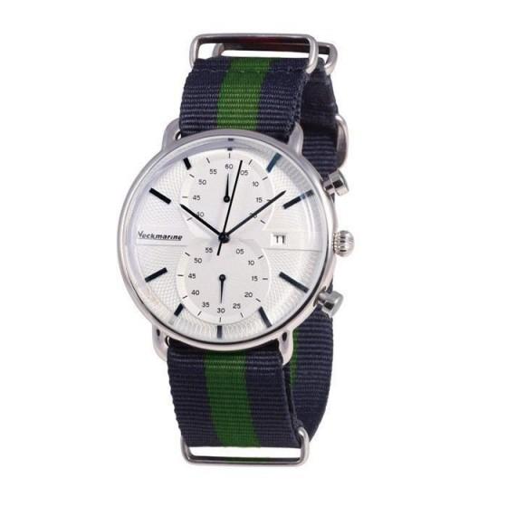 Reloj clásico con cronógrafo y esfera blanca - 1
