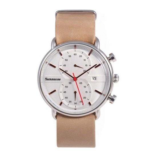 Reloj clásico con cronógrafo, esfera blanca y correa de piel - 1