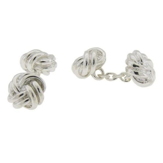 Gemelos en plata con doble nudo - 1