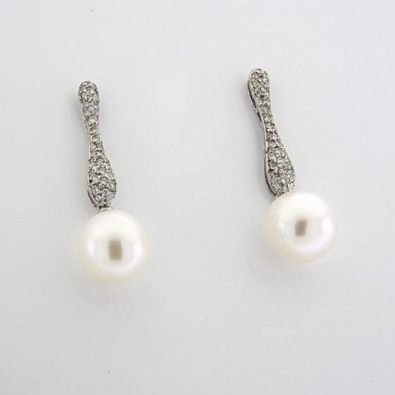 Pendientes de plata con cuajado de circonitas y perla - 1