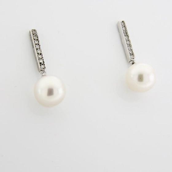Pendientes de plata con circonitas en banda  y perla - 1