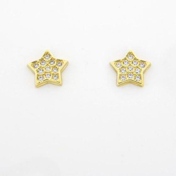 Pendientes de oro amarillo en estrella - 1