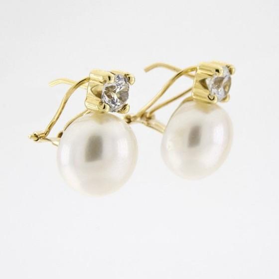 Pendientes de oro amarillo con perla y circonita en garras - 1