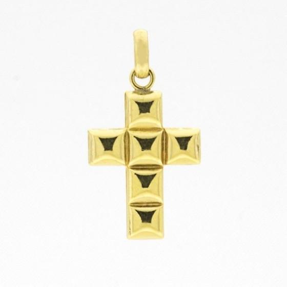 Cruz de oro con formas biseladas - 1