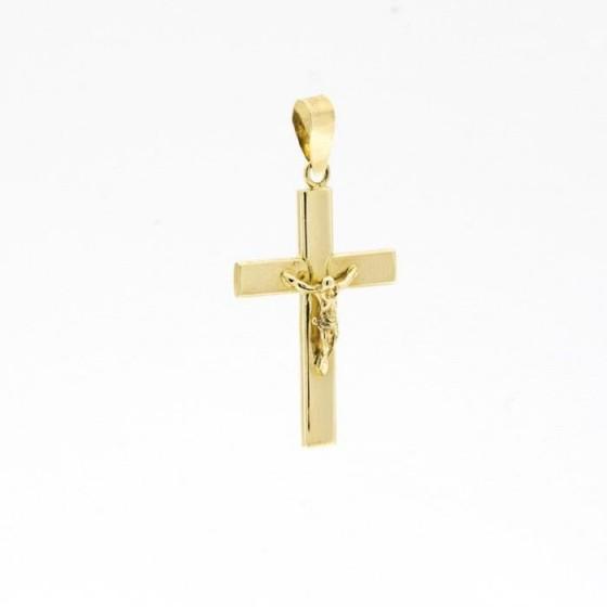 Cruz de oro lisa con figura de cristo - 1