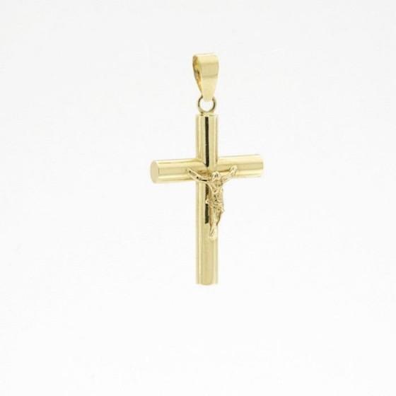 Cruz de oro redonda con figura de cristo - 1