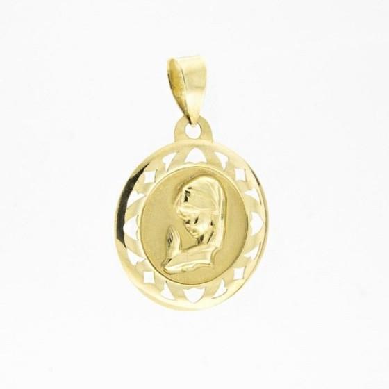 Medalla de oro con la virgen niña y borde calado - 1