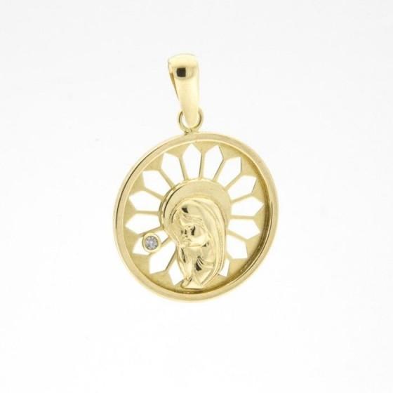 Medalla de la virgen niña con diamante - 1