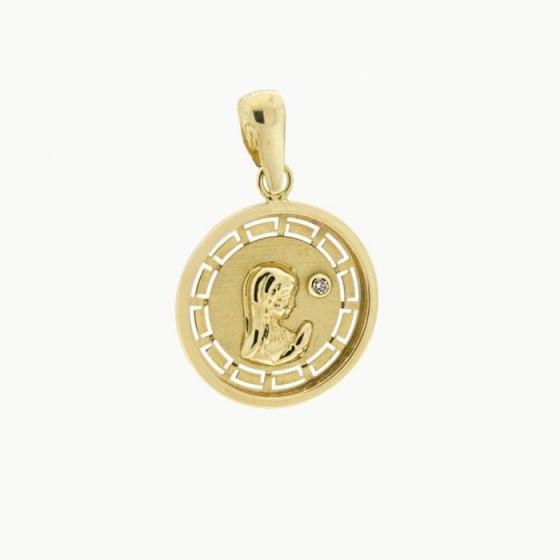 Medalla de la virgen niña con diamante (16mm) - 1