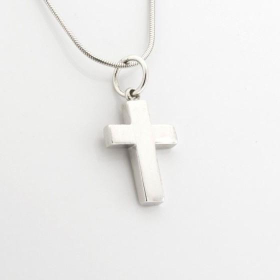 Conjunto en plata de cruz lisa y cadena - 1