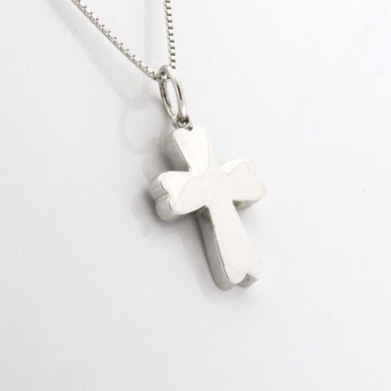 Conjunto en plata de cruz lisa con forma y cadena veneciana - 1