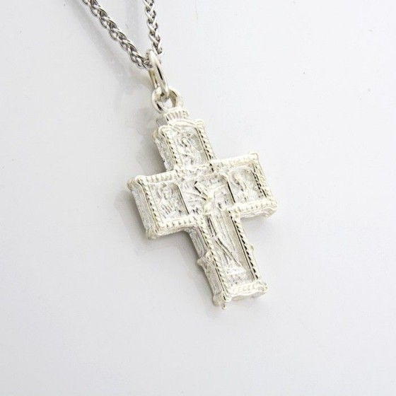 Conjunto en plata de cruz retablo y cadena espiga - 1