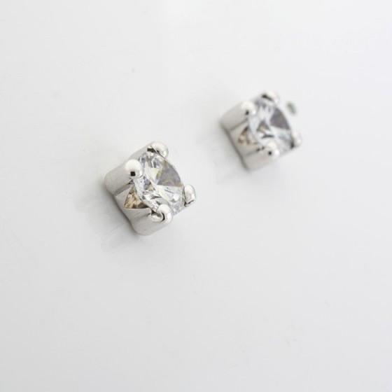 Pendientes de oro blanco y circonita - 1
