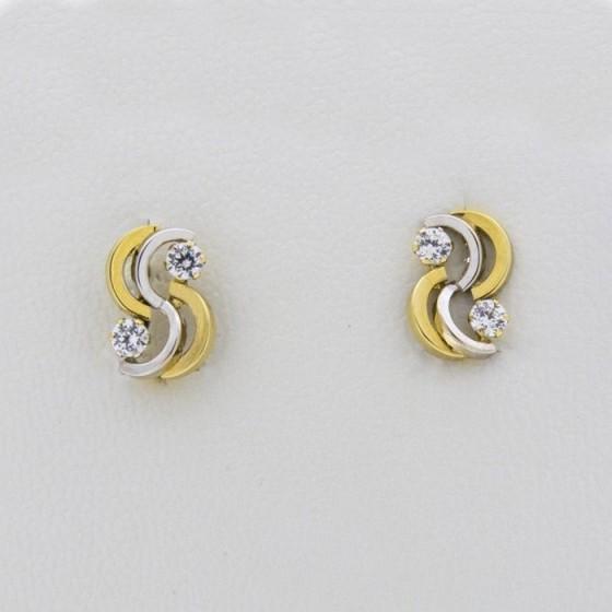Pendientes de oro bicolor con circonitas - 1