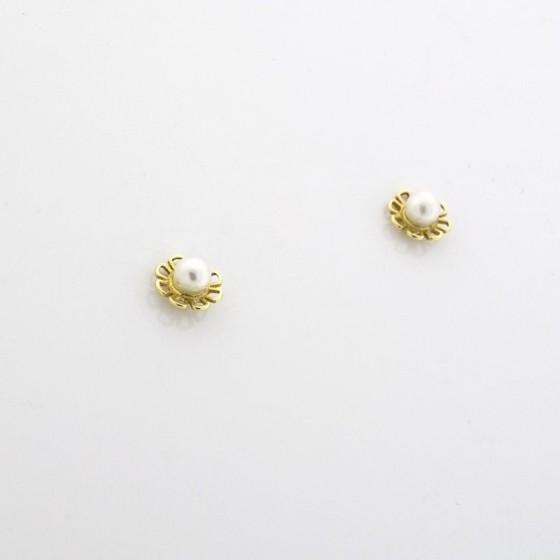 Pendiente en oro con forma de flor con perla - 1