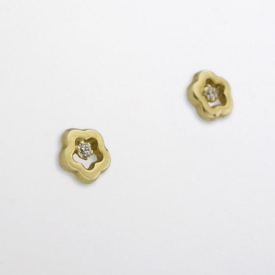 Pendientes para niña en forma de flor y circonita - 1