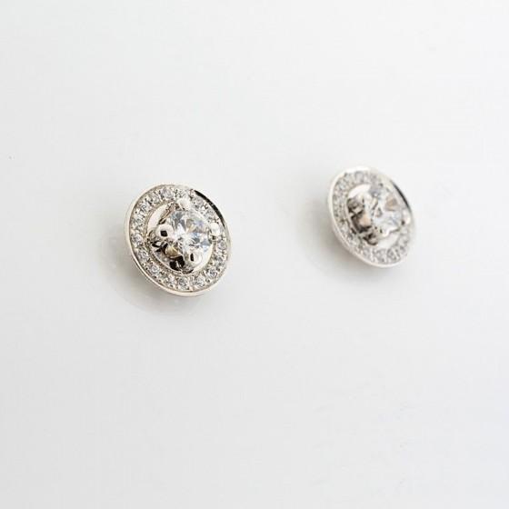 Pendientes circulares de oro blanco y circonita central - 1