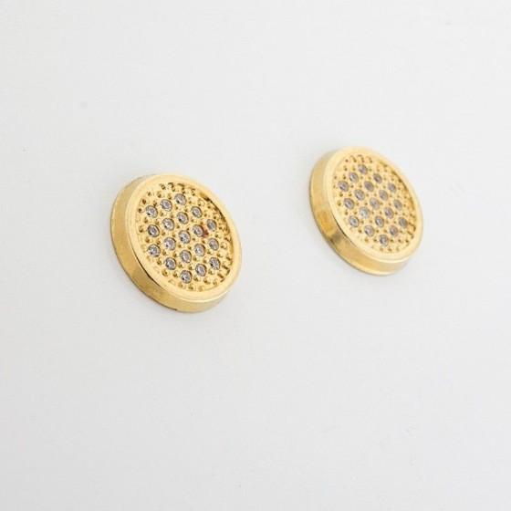 Pendientes redondos de oro amarillo y pavé de circonitas - 1