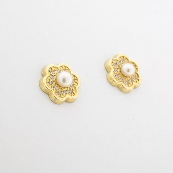 """Pendientes """"nube y perla"""" de oro amarillo y pavé de circonitas - 1"""