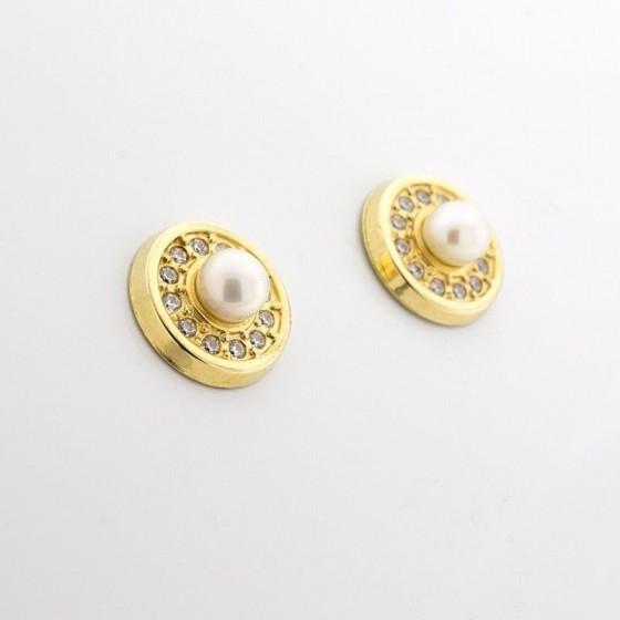 """Pendientes """"círculo y perla"""" de oro amarillo y pavé de circonitas - 1"""