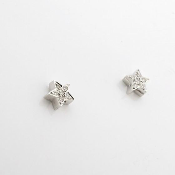 Pendientes estrella de oro blanco y brillantes - 1