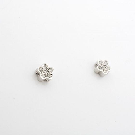 Pendientes flor de oro blanco y brillantes - 1