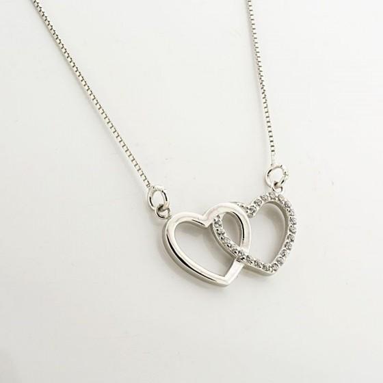 Colgante de plata con forma de corazón doble - 1