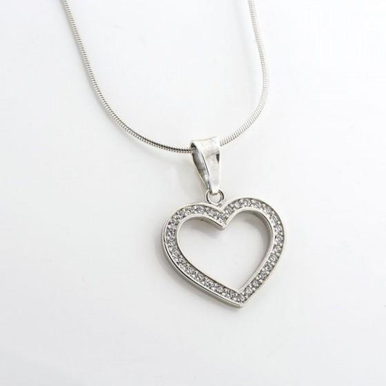 Colgante de plata con forma de corazón y circonitas - 1
