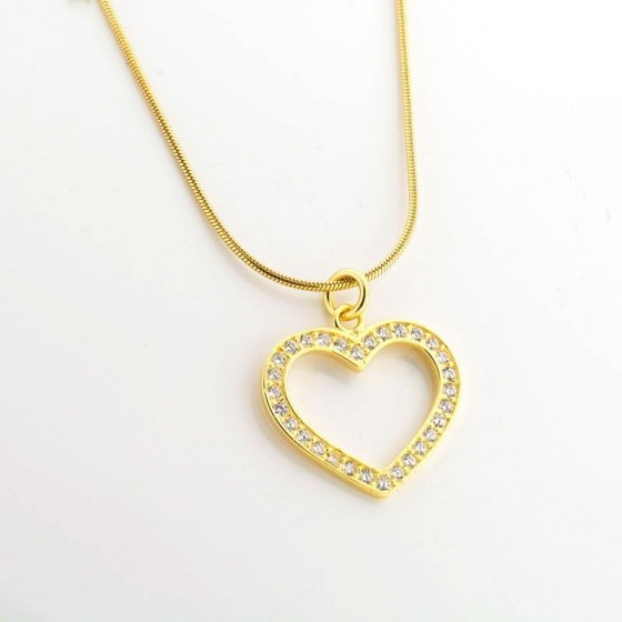 Colgante de plata dorada con forma de corazón y circonitas - 1