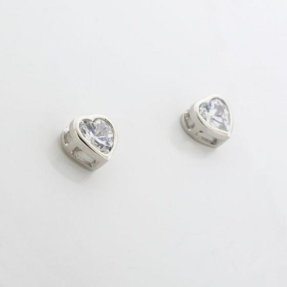 Pendientes corazón de circonita y plata - 1