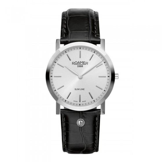 Reloj Slim Line en acero y cuero - 1